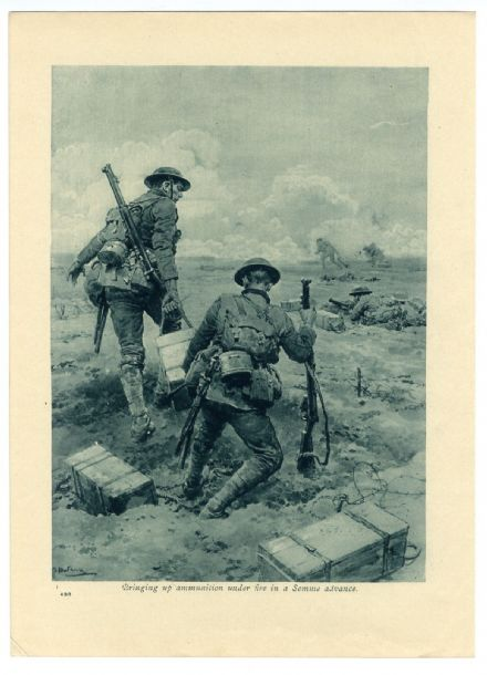 1916 SOMME BATTLE Soldiers Ammo Box MATANIA ARTIST WW1 War Print
